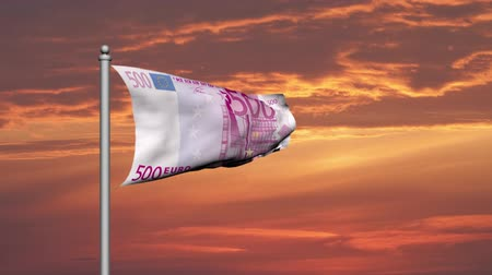 hoard : Euro banknote money flag at sunset Stock Footage