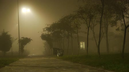 image house : Foggy weather at night small house