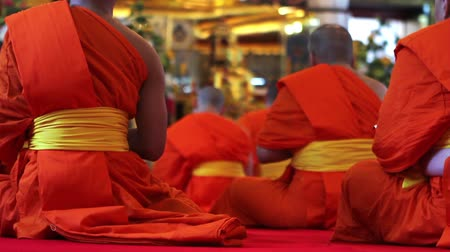 boudha : buddhist monks pray in temple