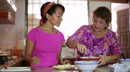 домохозяйка : Mother daughter preparing meal together in kitchen
