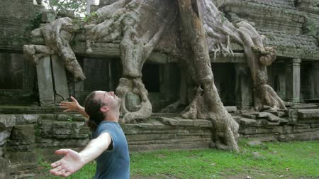 banyan : Happy man raising arms in mysterious preah khan temple, angkor Stock Footage