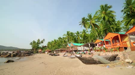 goa beach : Colourful hats in holiday resort on sandy beach by the sea