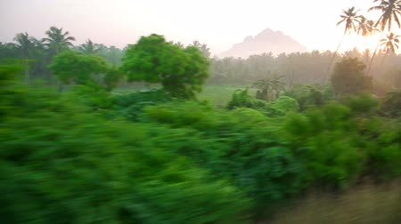 путешествие : Scenic landscapes passing behind train window