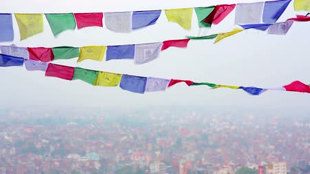 modlitba : Buddhist prayer flags flying in the wind over Kathmandu, Nepal