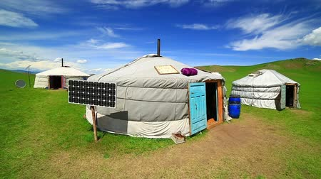 gép : Mongolian ger camps with solar power, TV satellite and oxcart, Central Mongolia. Great contrast, modern and traditional lifestyle melting each other