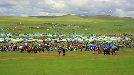 camelo : Colorful crowd at Naadam festival area, Ulaanbaatar, Mongolia Stock Footage