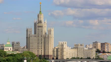 stalinist : View of one of seven sisters Stalinist style skyscraper building, constructed during Stalin era in central Moscow, Russia