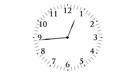 Animation, clock time with seconds, white background, HD Vídeos
