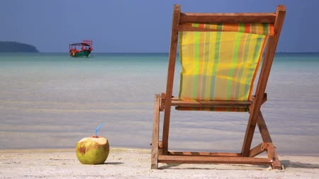 lounge : Sunbed and Coconut ready for holiday Stock Footage