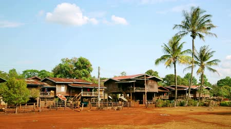 vila : Lao village life around coffee planted Bolaven Plateau, Pakse, Laos Vídeos