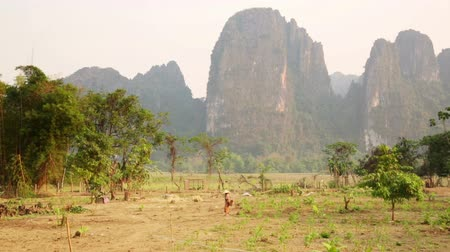 pastoral land : Daily life of Vang Vieng village with limestone mountains, Laos