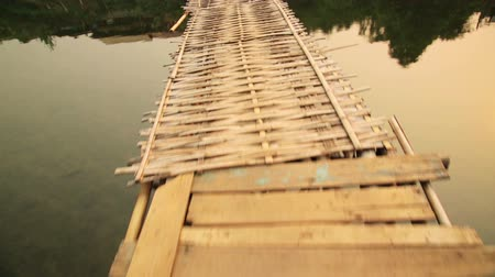 corda : walking on dangerous bamboo bridge, laos