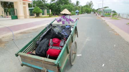 bagagem : Wheelbarrow hand cart carrier porter in Vietnam