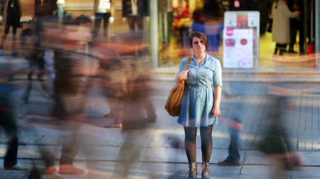 blur : Girl in front of shopping mall, zoom out, timelapse, HD Stock Footage