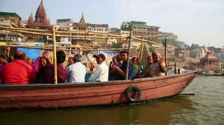 hacı : VARANASI, INDIA - MAY 2013: Everyday scene by Ganges River