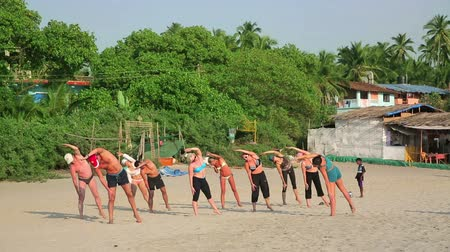 goa beach : GOA, INDIA - MARCH 2013: Group of holidaymakers practicing yoga on sandy beach