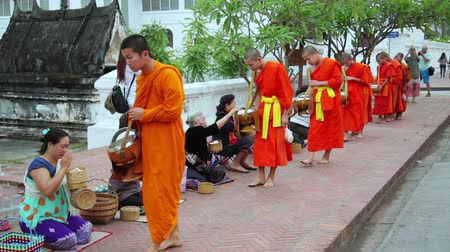 luang : LUANG PRABANG, LAOS - APRIL 2014: people give rice to monks as gift and get their blessing in their everyday morning religious ceremony Stock Footage