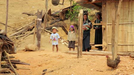 hill tribe : PONGSALI, LAOS - APRIL 2014: indigenous native tribal people, Akha tribe village