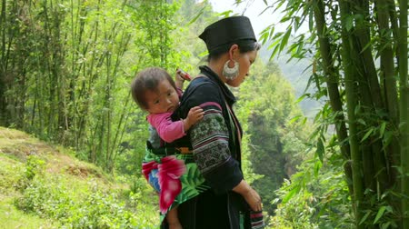 törzsi : SAPA, VIETNAM - MAY 2014: indigenous tribal native vietnamese Akha woman carry baby in hill village Stock mozgókép