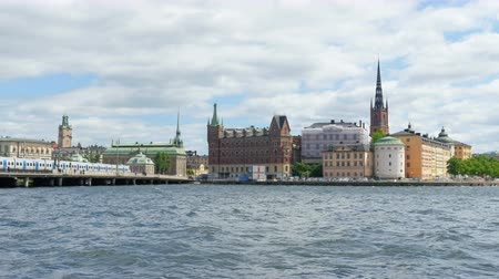 stockholm old city view with metro passing, sweeden