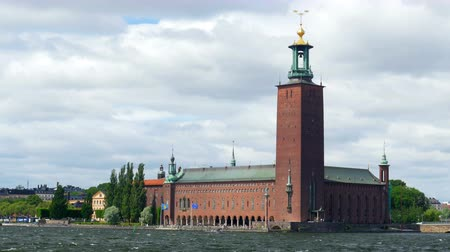 stockholm city hall view, sweeden Стоковые видеозаписи