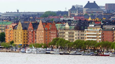 stockholm old city view, sweeden Стоковые видеозаписи