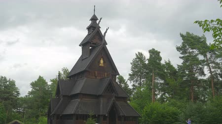 vikings : Stave church, timelapse, zoom out Stock Footage