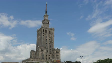 sovyet : warsaw, poland, culture science palace, stalin building, zoom out, 4k