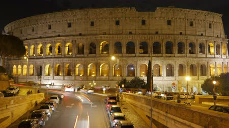 colloseum : Colosseum at night, rome, italy, timelapse, zoom in, 4k Stock Footage