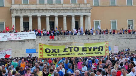 kryzys : ATHENS - GREECE, JUNE 2015: protests view