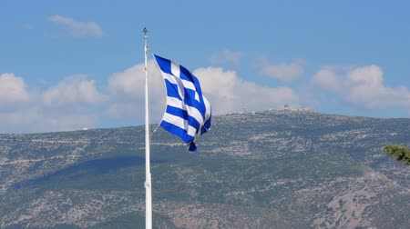 greek culture : One single greek flag on acropolis hill, athens, greece, 4k
