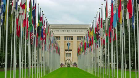 egyesült : United Nations building with flags, Geneva, Switzerland, 4K