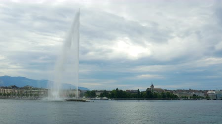 eau : jet deau fountain at geneva lake, switzerland