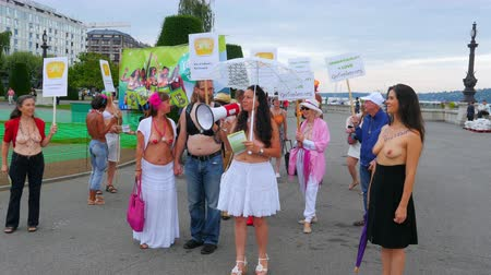 GENEVA - SWITZERLAND, AUGUST 2015: protests of topless equality rights