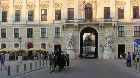 sáně : VIENNA - AUSTRIA, AUGUST 2015: hofburg palace street, horse carriage