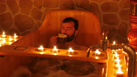 happy man in czech beer spa in prague