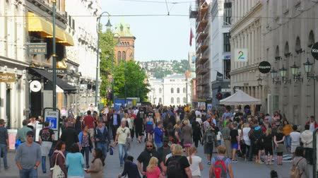 panoramic view : OSLO - NORWAY, AUGUST 2015: karl johans gate street view Stock Footage