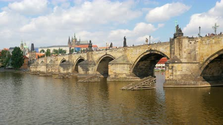 prague view around charles bridge and castle, czech republic, 4k