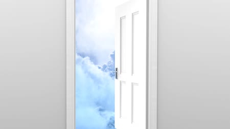 paraíso : Freedom and enlightenment concept of a white door opening to heavenly clouds