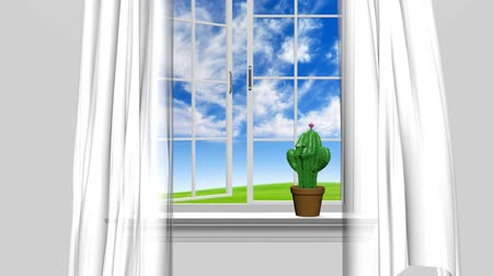 át : Home interior and open window with blue summer sky and a happy cactus man