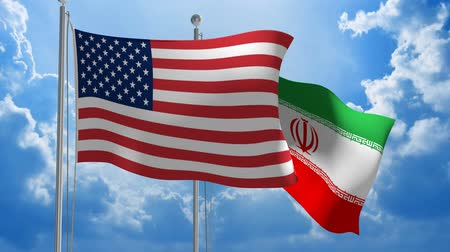 посланник : American and Iranian flags flying together for diplomatic talks 3D animation