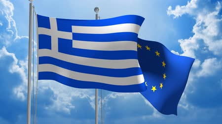 посланник : Greece and European Union flags flying together for diplomatic talks 3D animation