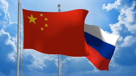 посланник : Chinese and Russian flags flying together for diplomatic talks, 3D animation