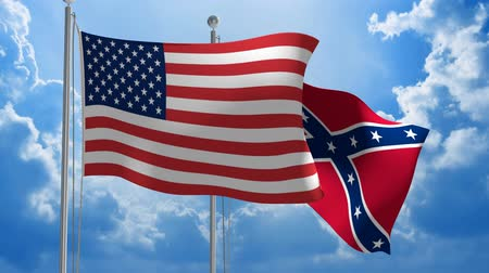 United States and Confederate flags flying together, 3D animation