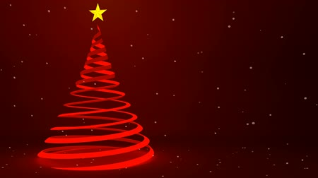 boŻe narodzenie : Modern red ribbon Christmas tree design and falling snow, 3D animation Wideo