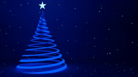 рождественская елка : Contemporary blue ribbon Christmas tree art and falling snowflakes, 3D animation