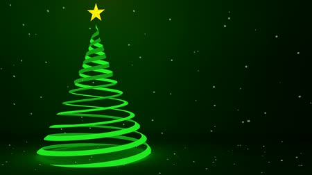 fitas : Glowing green ribbon Christmas tree design and falling snowflakes, 3D animation