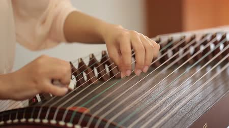 plucked : Hand of woman playing guzheng.