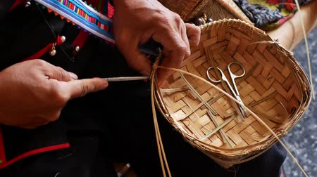 bamboo basket : Hand working on bamboo weaving in Thailand. Stock Footage