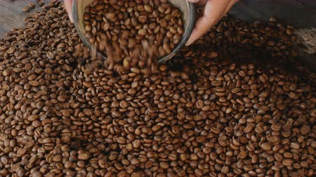 brew coffee : Coffee Roasts Vintage Origins Selections from Light to Dark Stock Footage